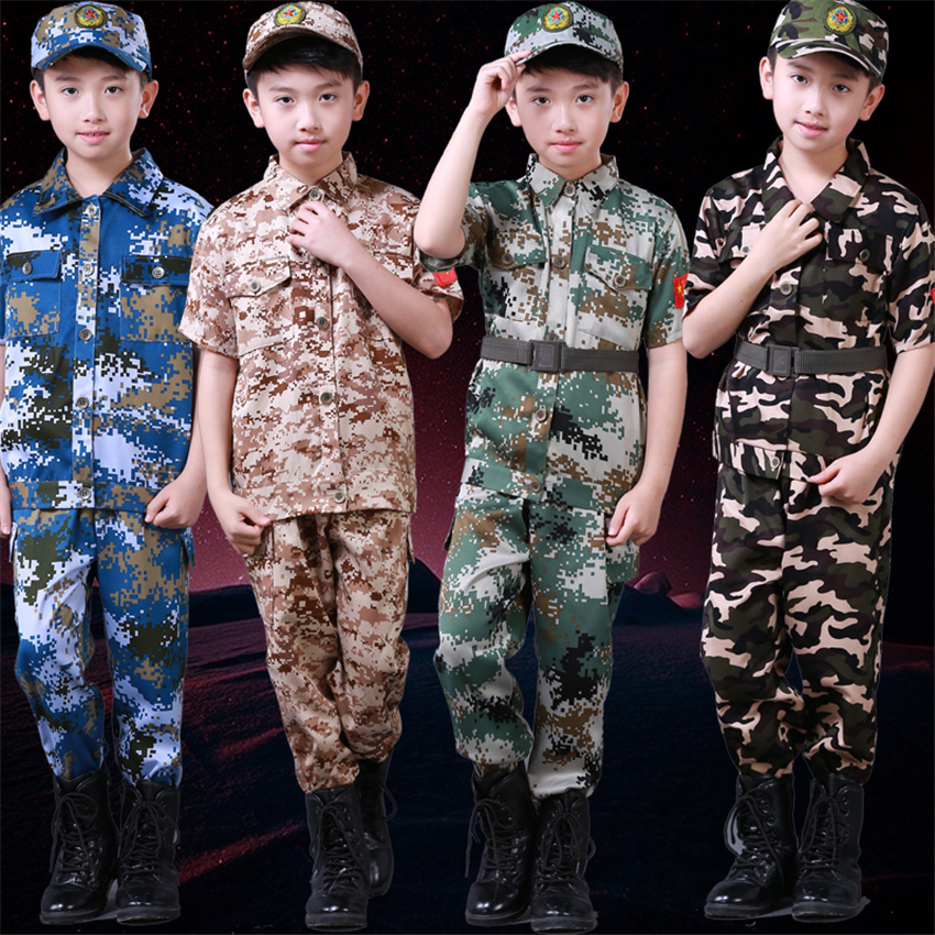 Teenager Military Uniform for Kids Boys Jackets Clothing Set with Cap Combat Children Army Camouflage Training Cosplay Costumes