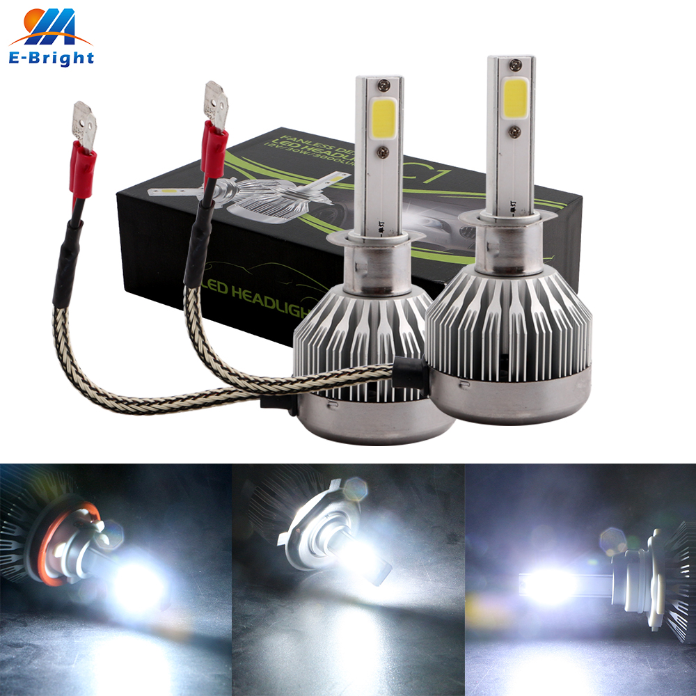 2X H1 Base COB 15W Led Auto 3000 LM 6500k Led Bulb Front Fog Light Off Road Driving Lamp 360 Degree Lamp Headlight 9 36V in Car Headlight Bulbs LED from Automobiles Motorcycles