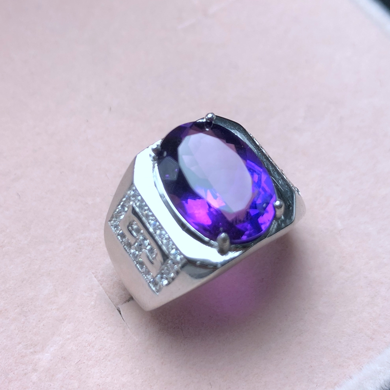 European and American style, atmospheric mens ring, openwork style, 925 silver, natural amethyst, atmospheric classicEuropean and American style, atmospheric mens ring, openwork style, 925 silver, natural amethyst, atmospheric classic
