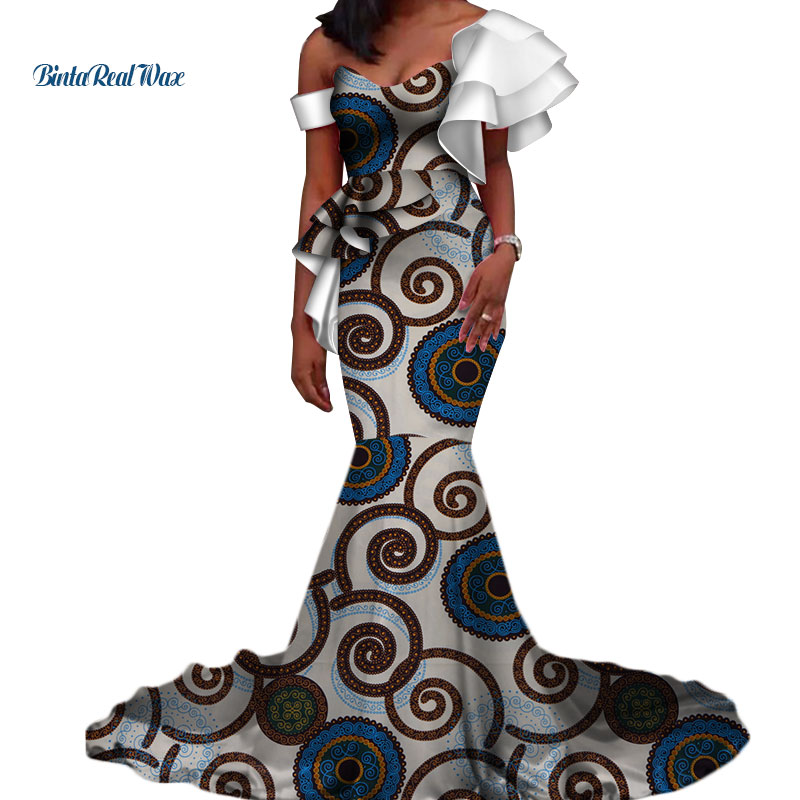 Vintage Vestidos Bazin Long Mermaid Dress Draped Patchwork African Print Dresses for Women African Ankara Clothing WY3346 in Africa Clothing from Novelty Special Use