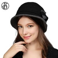 2017 Cloche Fedora Hat For Women Cap With Bowknot Bowler Wool Felt Hat Headwear Lady Church