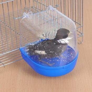 1Pc Plastic Bird Water Bath Box Bathtub Parrot For Parakeet Lovebird Finch Pet Cage Hanging Bowl Parakeet Birdbath 2