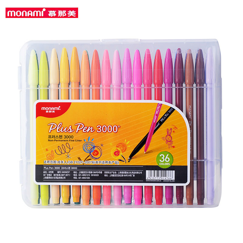 Monami Plus Pen 3000 Watercolor 12/24/36 Colors Gel Pen 0.3mm Fiber Tip For School, Gift, Writing, Drawing, Sketching