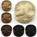 European American Toupee Fake Hair Chignon Chip In Hairpiece Braided Hair Bun Clip Hair Wraps Donut Roller Hairpiece Headdress
