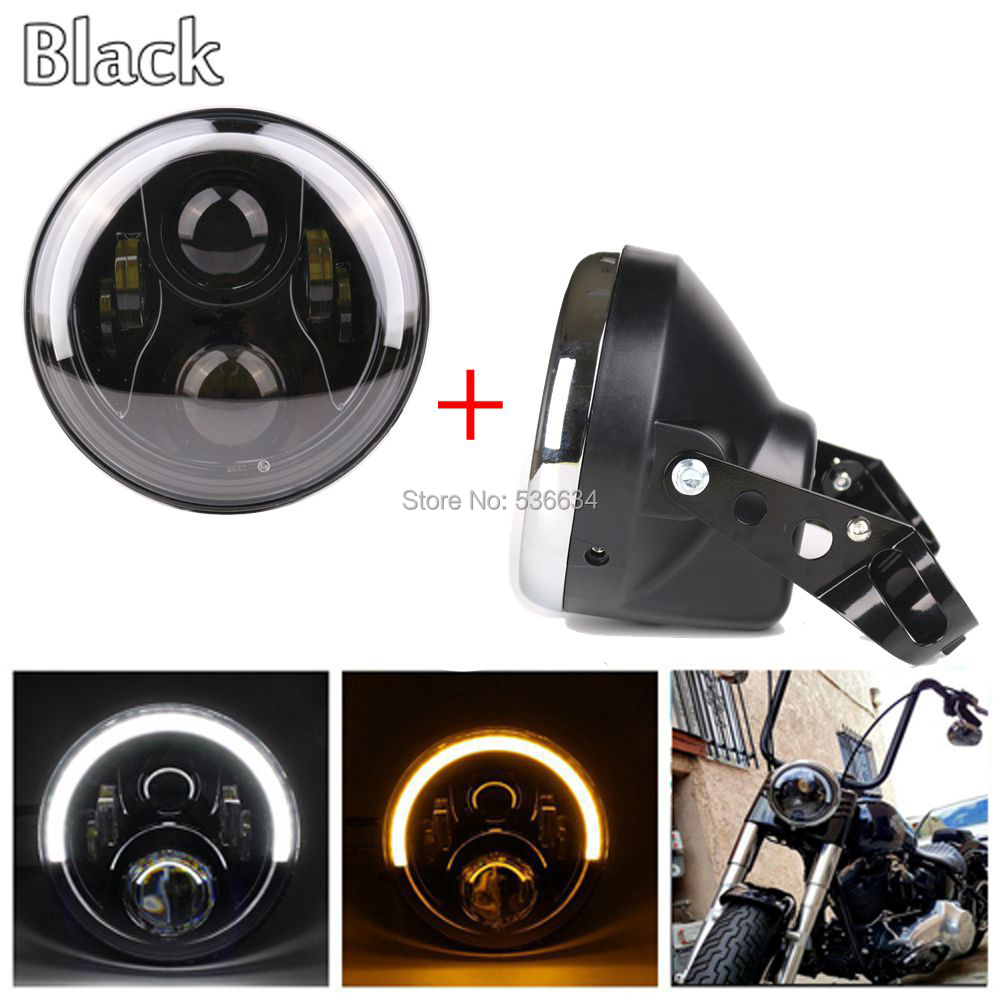 7 inch led headlight Projector Daymaker Halo Ring Color with White-Amber and Lamp shall for Harley Davidson Softail Slim