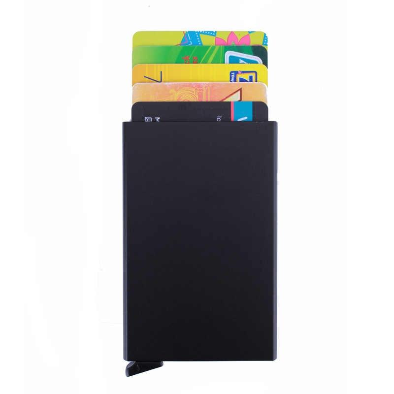 Gibo Auja-брендовый блокирующий RFID Алюминиевый Автомобильный держатель для карт минималистичный кошелек противоугонные мужские кошельки Футляр для кредитных карт Органайзер