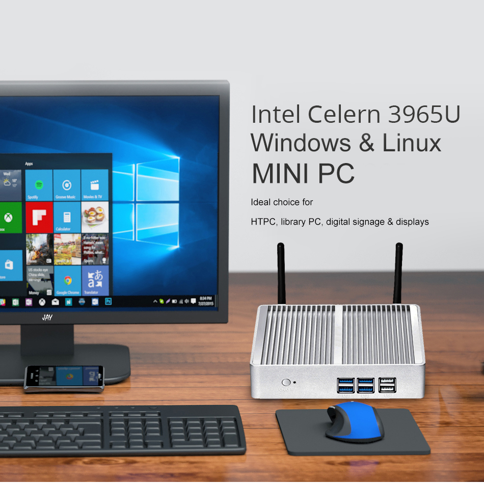Mini PC Windows 10 4K UHD Intel Celeron 3965U Dual Core 2.20GHz Gigabit LAN Dual Storage mSATA 2.5 inch SSD HDD HDMI VGA WiFi