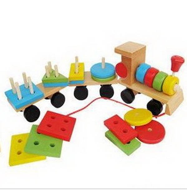 Cognitive Learning Toys : Wooden kids educational shape cognitive small train toys