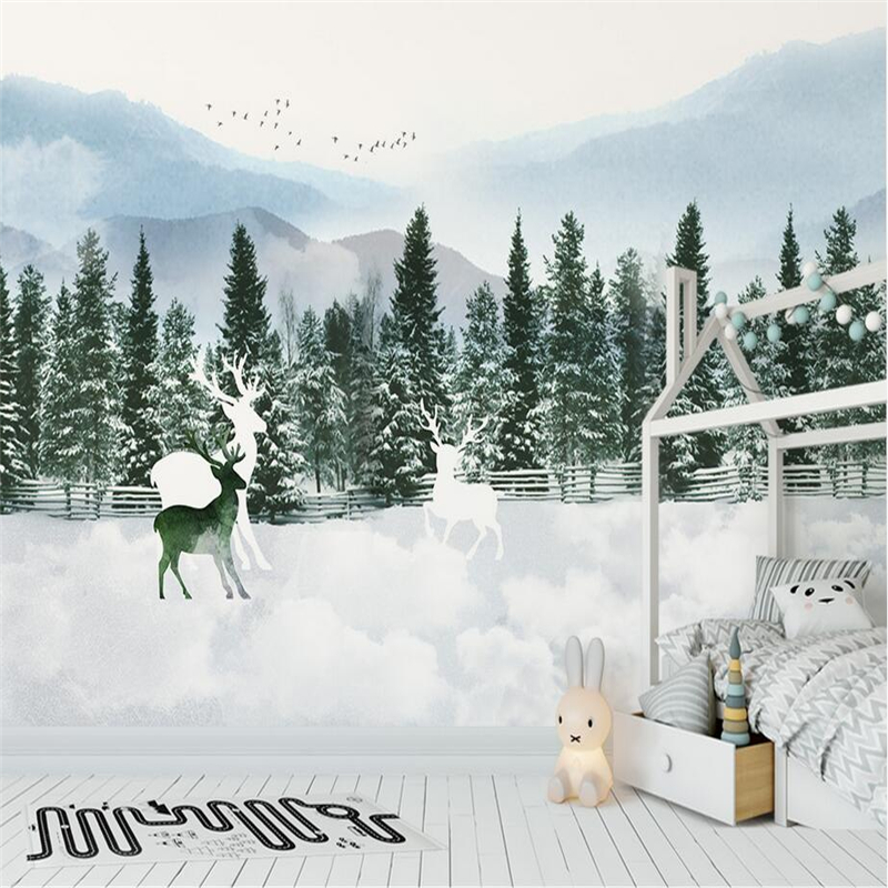 3D Elk Forest Wallpapers Snow Scenery Custom Murals Winter Christmas Teers Wall Papers for Walls for Kids Living Room Home Decor цена
