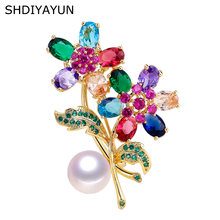 Shdiyayun 2019 брошь с жемчугом для женщин фианиты цветок Броши