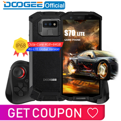 IP68/IP69K Waterproof DOOGEE S70 Lite Cellphone Wireless Charge NFC 5500mAh 12V2A Quick Charge 5.99'' MTK P23 Octa Core 4GB 64GB
