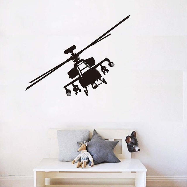 Army Helicopter Vinyl Wall Stickers Home Decor Airplane Art For Kids ...