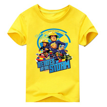 hot deal buy 2018 new children clothes for toddler kids t shirt for boys firemen blue circle cartoon print short sleeve boys clothing 2-10y