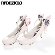 4ad4f53a7 Nude 2018 Ankle Strap Pumps Round Toe High Heels Japanese 3 Inch Bow Lolita  Fashion Shoes
