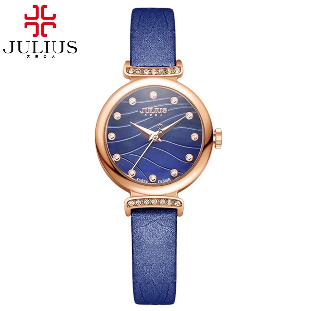 Girl charming elegant simple water wave luxury rhinestone stone leather watch Women pink blue quartz round Original Julius 875