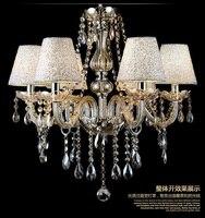 Мода Хрустальная люстра K9 кристалл лампы гостиной горит Ресторан Светильник спальни роскошные 6 дужки с абажур