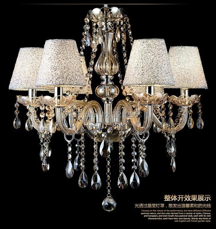Llambadar kristal modës k9 llambë kristal llambë dhomë ndenje ndriçon restorant llambë dhoma gjumi llambë luksoze 6 krahë me llambadar