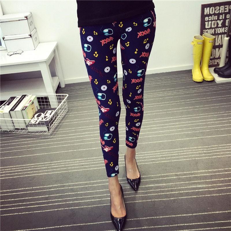 BIVIGAOS Spring Summer Womens Fashion Black Milk Thin Stretch leggings Colored Stars Graffiti Slim Skinny Leggings Pants Female 47