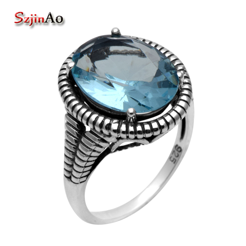 Szjinao Processing Wholesale Authentic Fashion Ring Oval 6.1Ct Blue Aquamarine Ring 925 Sterling Silver Rings for Women