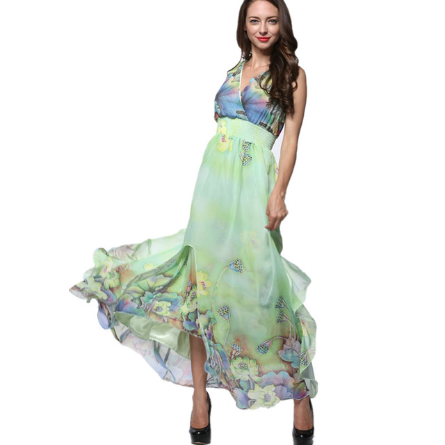 2017 Womens Summer Elegant Beach Chiffon Clothing Ladies Bohemian Print Maxi Long Dress Plus Size 6XL 7XL Vestidos 9020