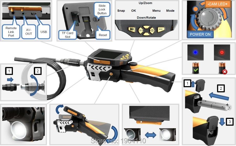 Portable Digital Video Recording #Endoscope with 3.5Inch Full Color LCD Screen & Slim 8.2mm Diameter Probe with 6 Adjustable LED_8