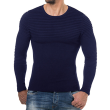 Sweater Men 2018 High Quality Pullover Men Autumn Round Neck Stripe Quality Knitted Brand Male Sweaters XXL T66