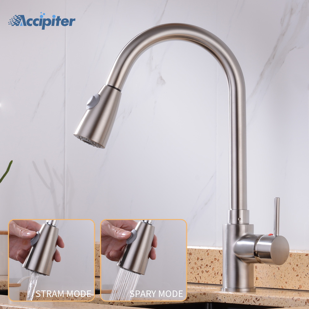 360 Degree Swivel Pull Out Kitchen Faucet Chrome Solid Brass One Handle Mixer Sink Tap Hot