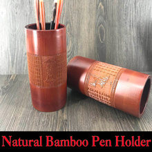 Natural Bamboo Pen Holder Desk Accessories Organizer Traditional Poetry works Lettering for Artist Painting Calligraphy Art Set(China)