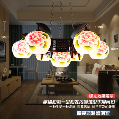 European And American Style Pendant Light Handpainted Ceramic Wood Night Living Room Home Decor Hotel