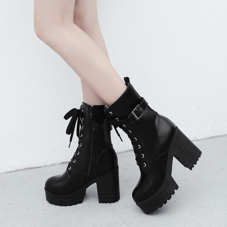 Details about  /Gothic Women PU Leather Chunky Heels Platform Lace Up Ankle Punk Boots Plus size