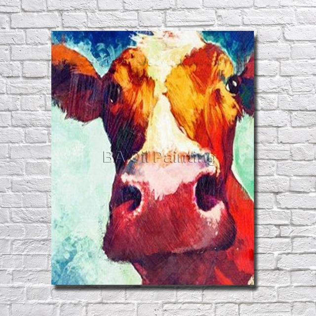Cheap  Free Shipping Pure Hand-painted Oil Painting on Canvas Cow Painting Modern Home Decoration Art Wall Pictures no Framed