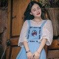 Eu não quero crescer outono novo estilo pastoral bordado cinta dress arte retro balanço mori girl dress
