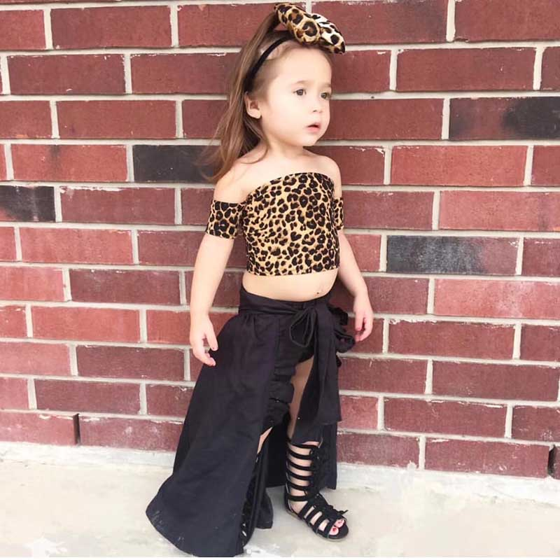 lol Clothes For Girls Teen Girls Clothing Off Shoulder Leopard Tops Solid Shorts Skirts Bow 4Pcs Cotton Girls Boutique Outfits in Clothing Sets from Mother Kids