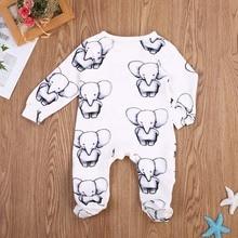 Симпатичный комплект для новорожденной девочки, для маленьких мальчиков и девочек одежда из хлопка для малышей Маленький слон-комбинезон Детские комбинезоны Костюмы