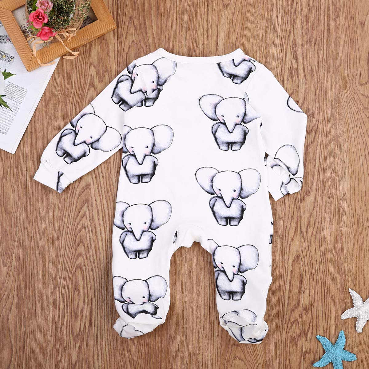 Cute Newborn Baby Boy Girl Cotton Clothes Babies Little Elephant   Romper   Jumpsuit Outfits Clothing