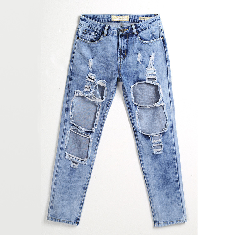 ФОТО European Grand Prix star with new European style beggar hole jeans loose straight women's jeans A0526