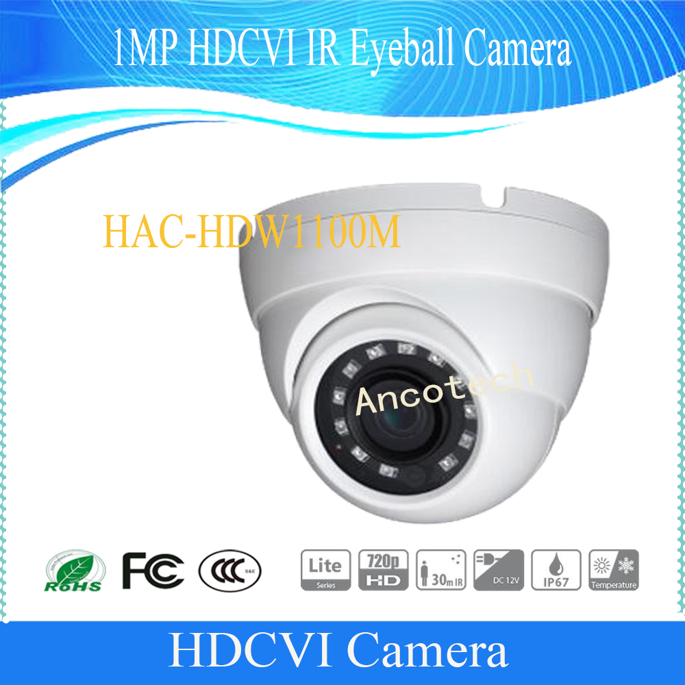 Free Shipping DAHUA CCTV Security Camera 1MP HDCVI IR Eyeball Camera IP67 without Logo HAC-HDW1100M free shipping dahua cctv security camera 1mp hdcvi ir bullet camera ip67 without logo hac hfw1100sl