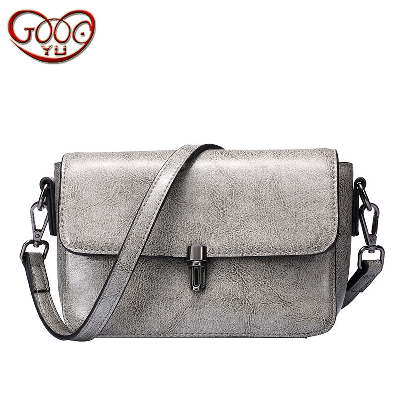 New Europe and the United States cowhide small square bag ladies horizontal square leather shoulder bag shoulder Messenger bag fashion handbags europe and the united states trendy handbag 2018 new shoulder messenger bag
