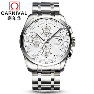Image 2 - Carnival military sports automatic mechanical watch men sapphire full steel leather strap luxury brand mens watches relogio saat