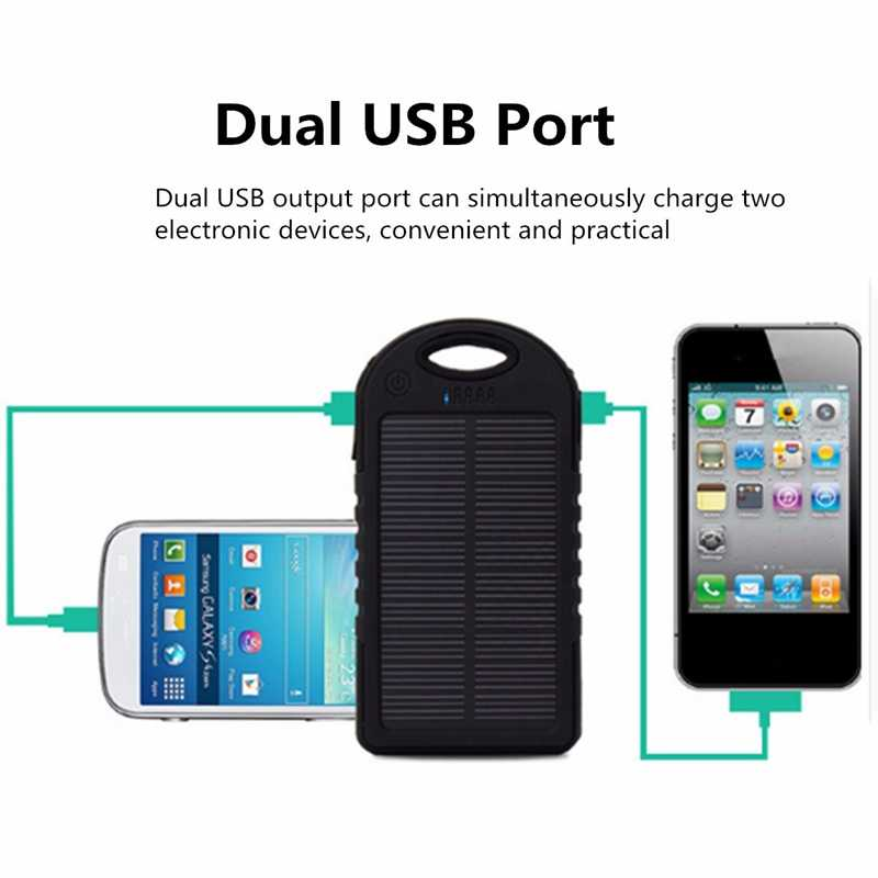 Cncool 2019 Solar Panel Portable Waterproof Power Bank 20000mah Dual-USB Solar Battery Powerbank for All Phone Universal