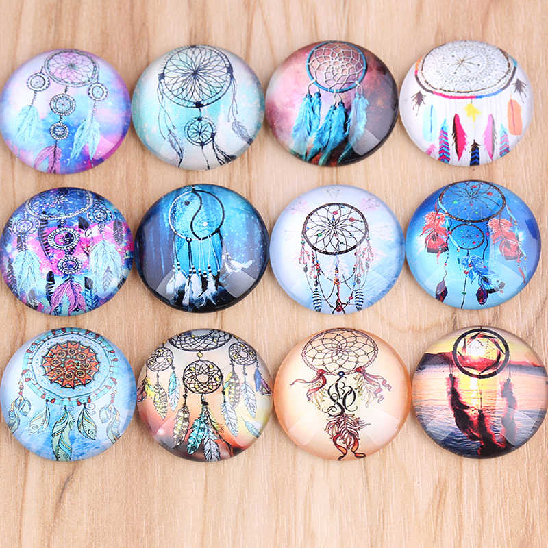 shukaki mix dream catcher photo round glass cabochon 12mm 20mm 25mm 30mm diy flatback handmade jewelry accessories