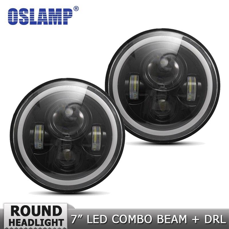 Oslamp 7 дюймов 60 Вт DRL Янтарный/Белый Halo угол глаза светодио дный лампы DC 12 В светодио дный налобный фонарь дальнего света для Land Rover Defender
