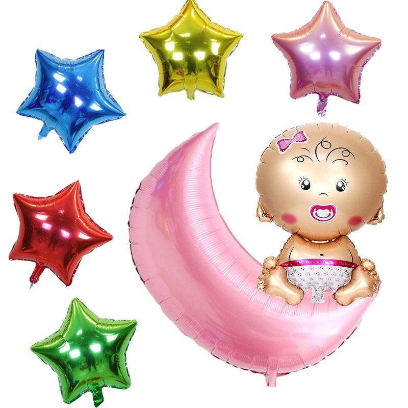 7pcs/lot Moon set  foil Balloons  Birthday Party Decoration air balloons Girl Bo