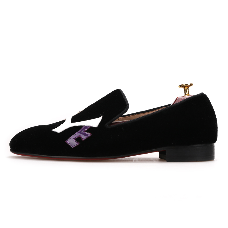 Piertar 2019 핸드 메이드 블랙 벨벳 신발 러브 레터 디자인 패션 파티 및 웨딩 남성 로퍼 플러스 사이즈 남성 플랫-에서남성용 캐주얼 신발부터 신발 의  그룹 2