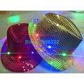 Light up Jazz Sombrero Juguete/LED Lentejuela Fedora Fedora Caps LED Parpadeante ilumina Intermitente Tapa para la Fiesta de Cumpleaños/Bar Light Up Toy