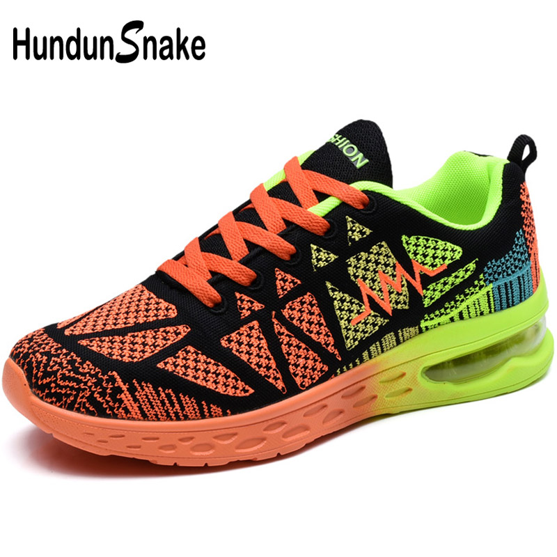 Hundunsnake Orange Air Cushion Sport Shoes Men Sneakers Women Running Shoes Men's 2018 Male Sports Shoe Adult Krassovki Gym T3