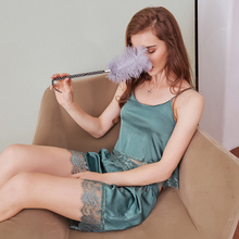 Pajamas women summer silk pajamas set sleep shirt shorts suit straps sexy lace sleepwear nightwear womens