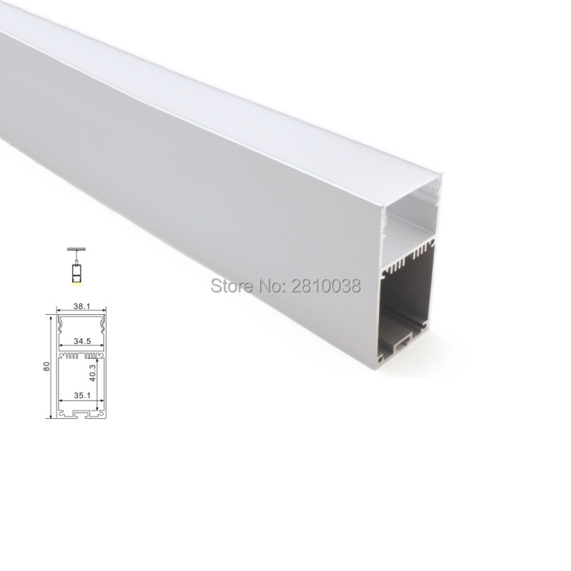 10X 1M Sets/Lot linear light led aluminium profile and 38.1mm wide rectangle led strip profile for hanging or pendant lamp 5 30 pcs lot 1m aluminum profile for led strip milky transparent cover for 12mm pcb with fittings embedded led bar light