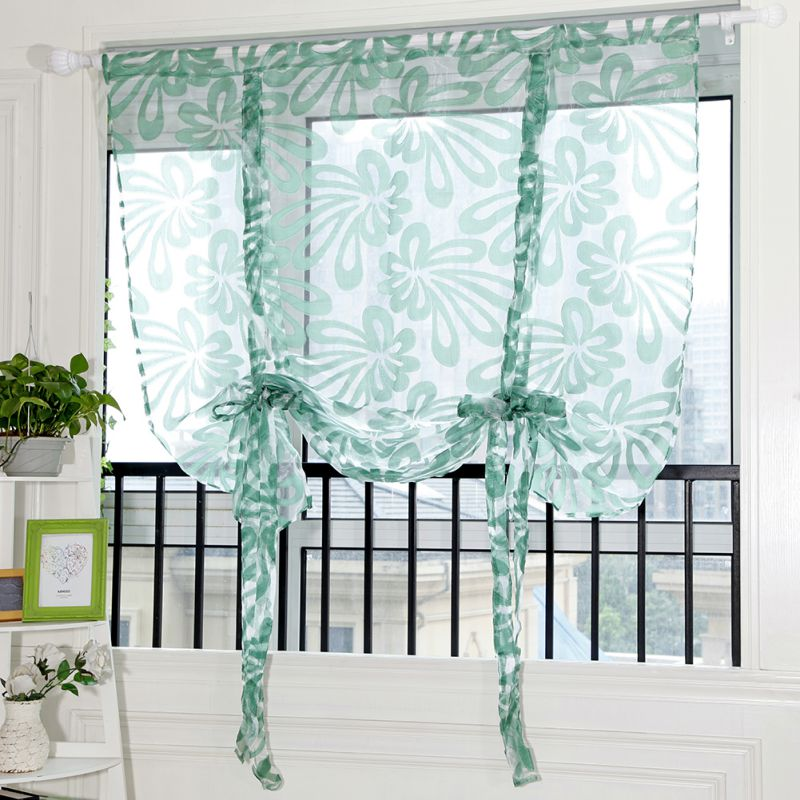 Collection Here Kitchen Short Curtains Roman Blinds Floral White Sheer Panel Green Tulle Window Treatment Door Curtain Home Decoration Su023 *20 Home Textile Window Treatments