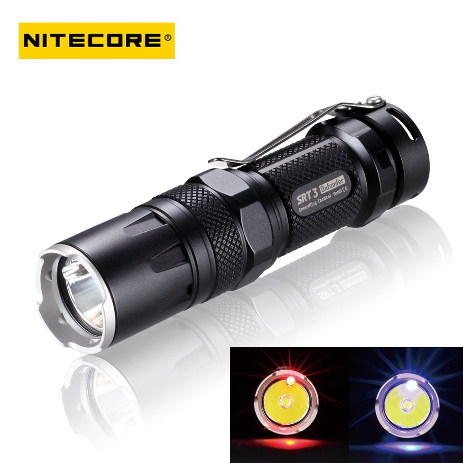 Nitecore SRT3 CREE XM-L (XM-L2 T6) 550lm Mini Rechargeable LED Tactical Flashlight Torch rechargeable 2000lm tactical cree xm l t6 led flashlight 5 modes 2 18650 battery dc car charger power adapter